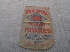 Vintage Red Spud Potatoes A. A. Corte & Sons Loxley ALA  USA burlap Sack