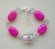 Hot Pink Cerise Agate and Glass Rose Lampwork Bead Bracelet in Gift Bag