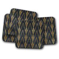 4 Set - Black & Gold Art Deco Coaster - Geometric Wallpaper Retro Gift #12545