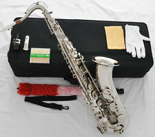 Professioanl Silver Nickel Tenor Saxophone Bb High F# Sax FREE Metal Mouthpiece