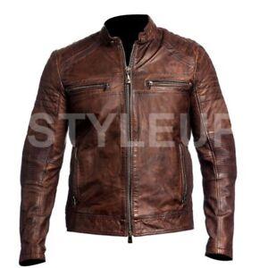 Men Vintage Style Retro Distressed Brown Biker Cafe Racer Real Leather Jacket