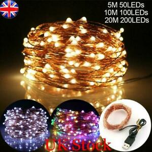 DIY USB Plug In 50/100/200LED Micro Copper Wire Fairy String Lights Home Xmas UK