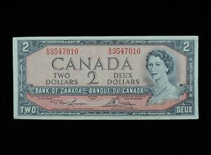 1954 $2 Dollar Bank of Canada Banknote Bill S/G 3547010 Lawson Bouey EF Grade