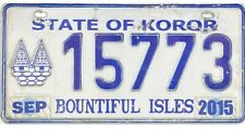 *99 CENT SALE*  2015 Koror Palau License Plate #15773 Bountiful Isles No Reserve