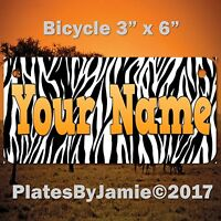 ZEBRA BACKGROUND CUSTOM  ANY NAME or TEXT Child's Bicycle Bike License Plate