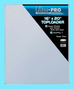 5 ULTRA PRO 16x20 TOPLOADERS NEW Photo Collectible Rigid Document Art Poster