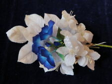 "Vintage Millinery Flower Collection 1 1/2"" Blue White German Czech H1883"