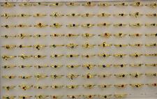 40pcs Fashion Jewelry Wholesale Mixed Lots Small Rhinestone Gold Plated Rings
