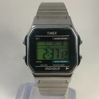 Timex Indiglo Mens 555 Silver Stainless Steel Multifunction Digital Wristwatch