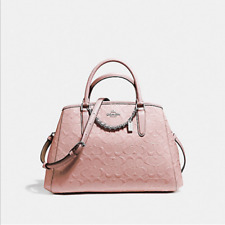 COACH SMALL MARGOT CARRYALL SIGNATURE DEBOSSED PATENT LEATHER F55451 Blush Pink