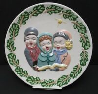 Vintage Christmas Carolers Ceramic Hand Painted Plate 1957 Holland Mold Holiday