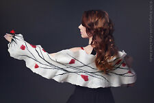 White wedding shawl with flowers for autumn & winter, romantic wedding accessory