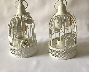 2 Shabby Chic White Round Metal Bird Cage Lantern Wedding Tealight Candle holder