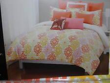 New Cynthia Rowley King Duvet Cover & Shams Set -  Pink Coral Sage Gold Damask