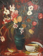 VINTAGE OIL PAINTING STILL LIFE WITH FLOWERS AND VASE