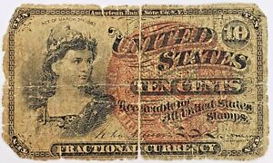 1863 10 Cent Fractional US Currency Note 4th Issue 10c