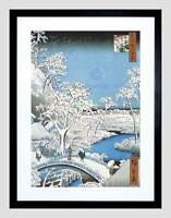 PAINTING JAPANESE WOODBLOCK WINTER BRIDGE OVER RIVER FRAMED ART PRINT B12X10826
