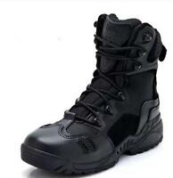 Mens Winter Hiking Military Boots Frosted Net Zipper Combats High-top Shoes Size