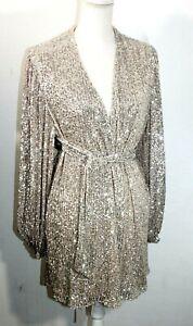 Zara Women's MNI SEQUIN DRESS BLAZER PUFF SLEEVES US S 7676