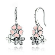 Exquisite Women's Silver Floral Diamond Daisy Pink Peach  Drop Hang Earrings