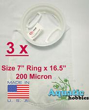 """3x Filter Sock 7"""" Ring x 16 .5"""" 200 Micron Mesh Polyester High Quality Aquarium"""