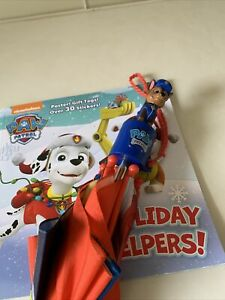 Lot Of 2 Nickelodeon  Chase Paw Patrol Umbrella, Paw Patrol Holiday Helpers Book