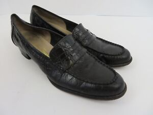 Salvatore Ferragamo Womens Penny Loafers Croc Embossed Blk Leather 8.5AAA #2728
