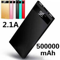 Ultra Thin LED LCD 500000mAh Portable External Battery Charger 2 USB Power Bank