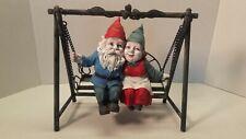 Vtg Gnome Man Woman Love Figurine Swinging Garden