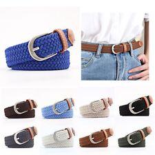 54c1daa87c5f Fashion Women Elastic Pin Buckle Waistband Solid Strap Canvas Knitted Waist  Belt