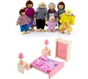 7 Dolls Family + Bedroom Pink Wooden Dolls House Furniture 2021 Christmas Gift