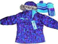 ZeroXposur Girls 3 pc Snowboard Ski Hooded Jacket Coat Gloves Beanie Purple Sz 4
