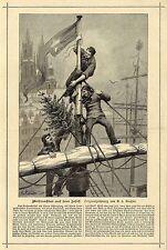 A.v.Roessler ( Seemänner Weihnachtsbaum auf der Mastspitze ) Graphik  um 1900