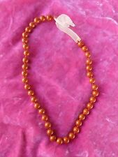 STUNNING ART DECO STYLE JASPER BEAD NECKLACE WITH FROSTED GLASS RAMS HEAD CLASP