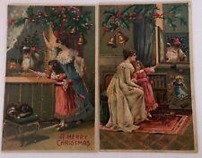 Lot of 2 Santa's at Windows~ w. Mother & Children~1907 Christmas Postcards-k648