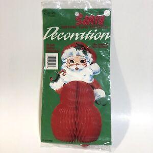 "Vtg Eureka Honeycomb Santa 10"" Stand Up Decoration Tissue Christmas Centerpiece"