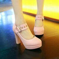 Womens Fashion Buckle High Heel Pumps Round Toe Prom Party Casual Lady Shoes Sz