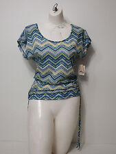 shirt Top Self Esteem Small Cap Sleeve Criss Cross Open Back Scrunch Sides