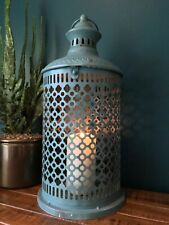 Large French Vintage Style Moroccan Lantern Candle Holder Tea Light Metal 43 cm