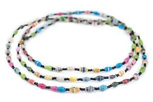 Small Multicolor Paper Beads Long Strand 6mm Uganda African Bicone Handmade