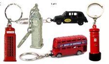 5 X BRITISH 3D KEY RINGS - LONDON SOUVENIRS BUS TAXI BIG BEN POST & PHONE BOX