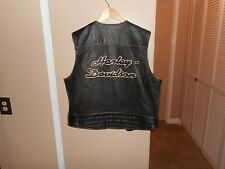 "Vintage Men's Harley Davidson Bronco Distressed Leather Vest XXL 24.5"" W X 25"" L"