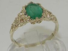 Luxurious Solid 925 Sterling Silver Natural Emerald Solitaire Engagement Ring