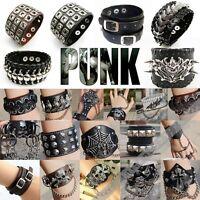 Punk Rock Gothic Leather Rivet Spike Studded Bracelets Bangle Wristband Rings