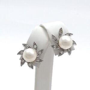 Retro Deco 14K Gold Akoya Pearl Pave Diamond Pinwheel Flower Stud Earrings