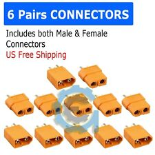 12PCS XT-60 XT60 Male Female Gold Plated Bullet Connectors RC Lipo Power Plugs