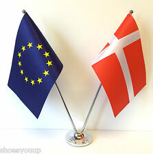 European Union EU & Denmark Flags Chrome and Satin Table Desk Flag Set