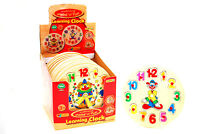 Children's Kids Wooden Jigsaw Puzzle Clown Clock Educational Toy Learn the Time