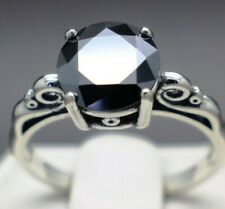 1.62cts 7.46mm Real Natural Black Diamond Size 7 Scroll Ring & $1010 Value..
