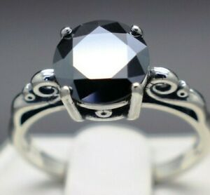 2.13cts 8.42mm Real Natural Black Diamond Size 7 Scroll Ring & $1265 Value...